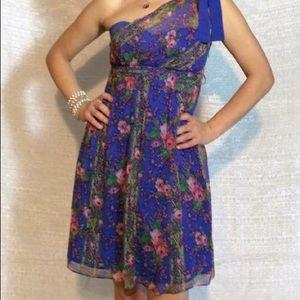 Betsey Johnson one shoulder blue flower dress sz 2
